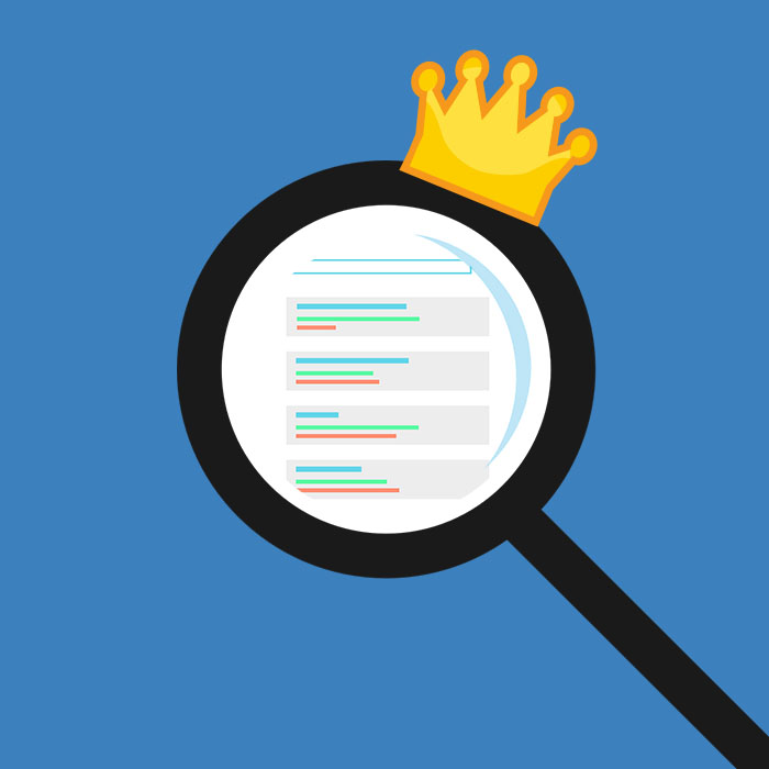 magnifying glass looking at a website