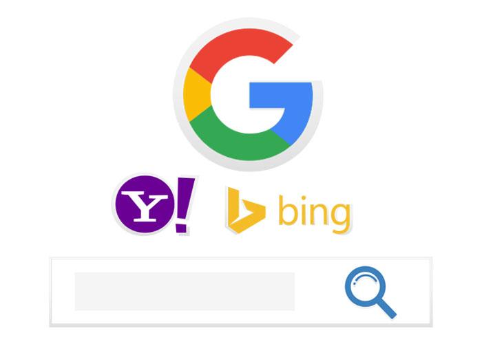 Google, Yahoo, and Bing logos