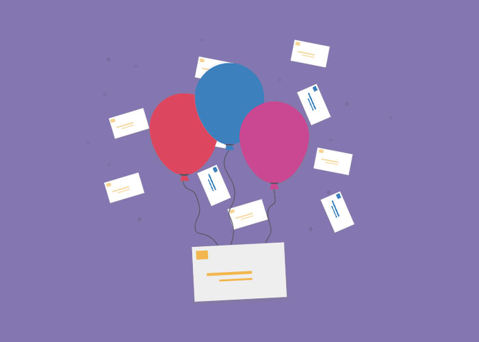 Balloons and email envelopes