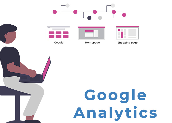 Person looking at a laptop with Google Analytics