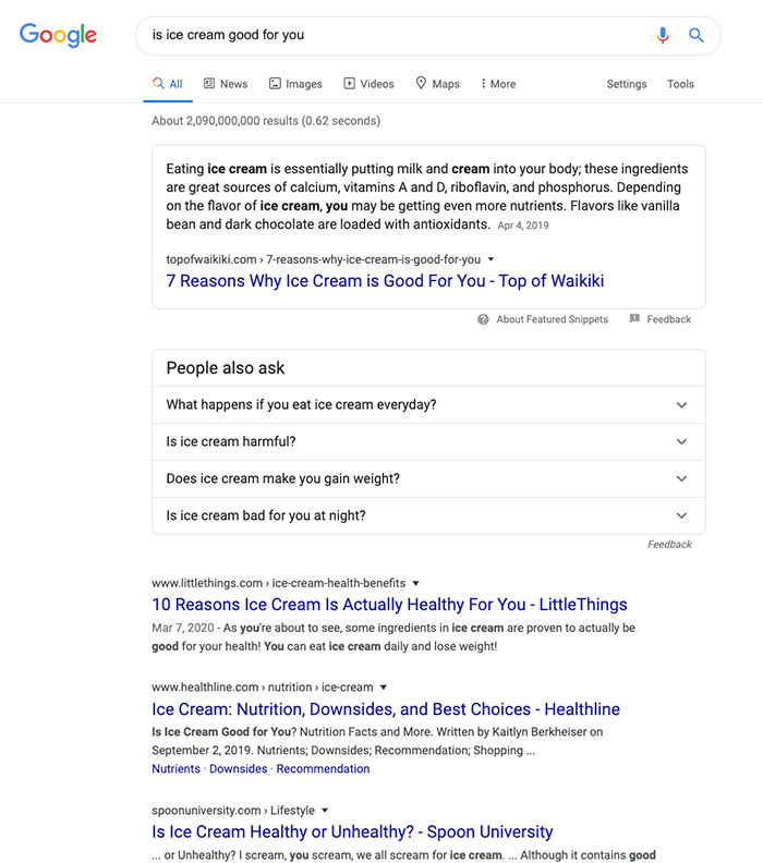 Snapshot of the Google Featured Snippet