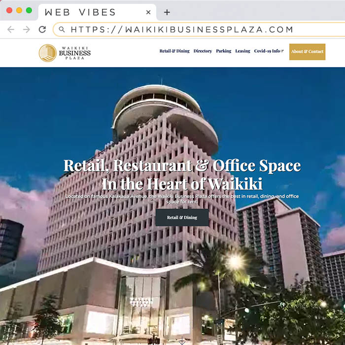 """Screen capture of the new Waikiki Business Plaza static website."""