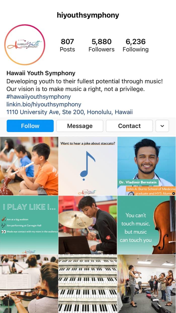 Hawaii Youth Symphony Instagram Feed