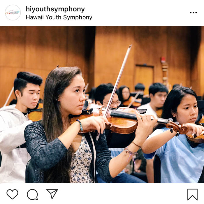 Screen capture of Hawaii Youth Symphony Instagram account.