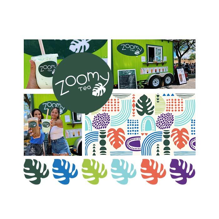 mood board of zoomy tea branding